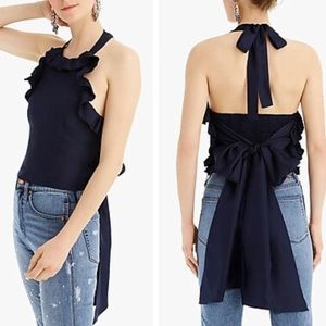 J Crew Collection Silk Ruffle Wrap Halter Top S